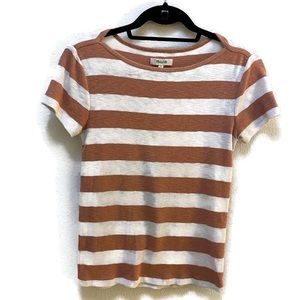 Madewell Knit Stripe Tee Pink & White
